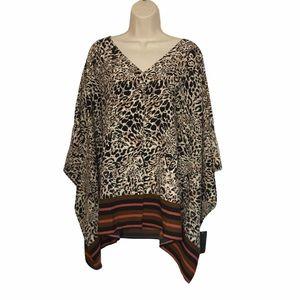NEW Avenue Leopard Poncho Shirt Blouse Plus 22 24